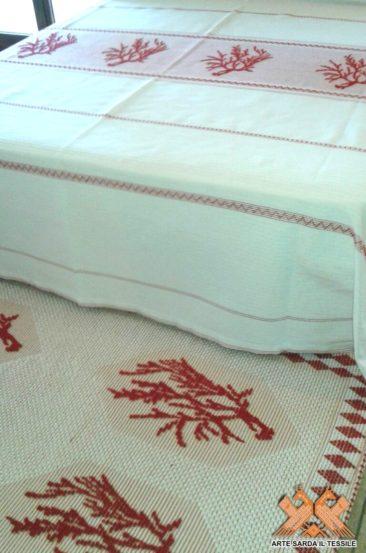 copriletto + tappeto disegno corallo